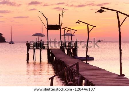 Nightfall by the Sea Evening Meditation - stock photo