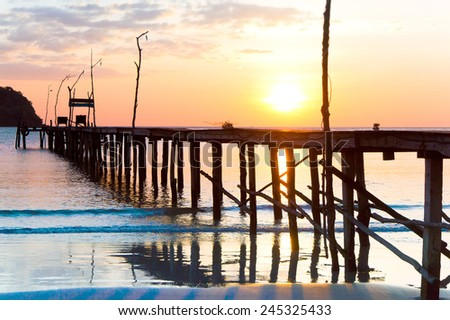 Nightfall by the Sea Evening Meditation  - stock photo