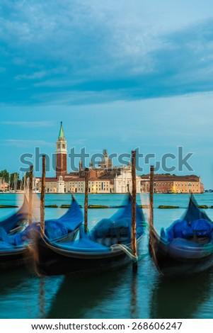 nightfall in the city of Venice/view to San Giorgio Maggiore - stock photo