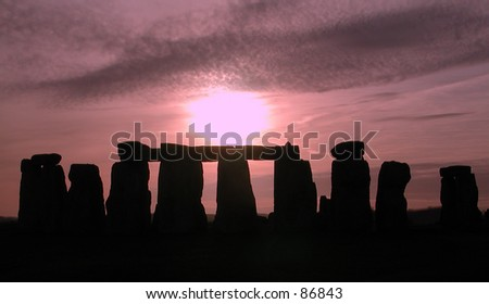 Nightfall on Stonehenge - stock photo