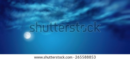 Nightly dramatic blue landscape with cumulus clouds and moon - stock photo
