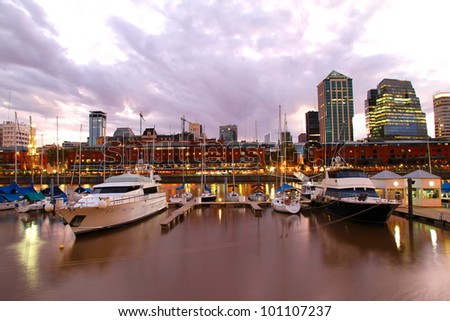 Nightly panorama of the Puerto Madero in Buenos Aires, Argentina. - stock photo
