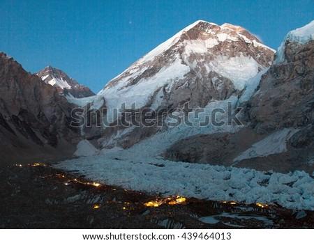 Nightly panoramic view of Mount Everest base camp, Everest, Khumbu glacier, Sagarmatha national park, Nepal  - stock photo