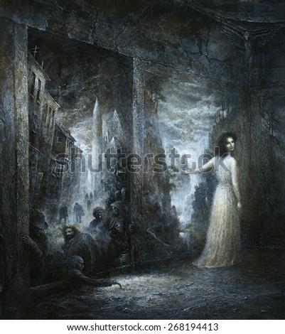 Nightmare painting - stock photo