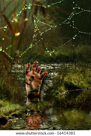 Nightmare scene with a bleeding hand in the Moors - stock photo
