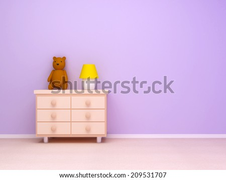 Nightstand with lamp and teddy bear. Pastel colors, empty room - stock photo