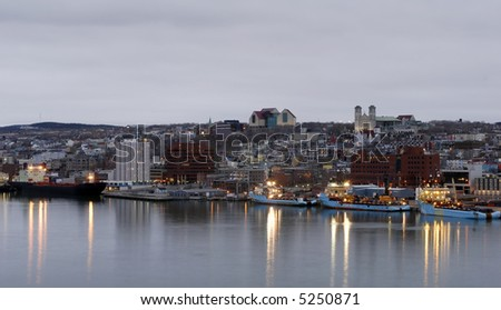 Nighttime at St John's, Newfoundland Harbor - stock photo