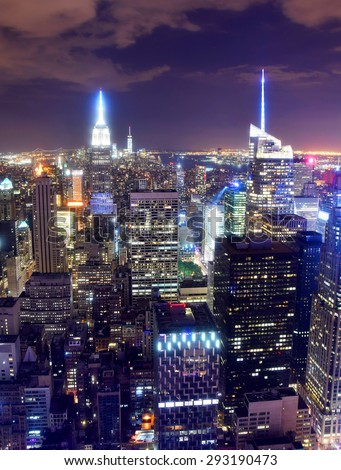 Nighttime New York City skyline from above - stock photo