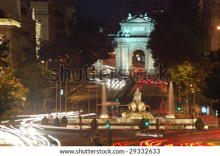 Nightview of Fuente Cibeles and Puerta de Alcala in Madrid, Spain - stock photo