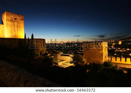 Nightview of Granada from the Alhambra - stock photo