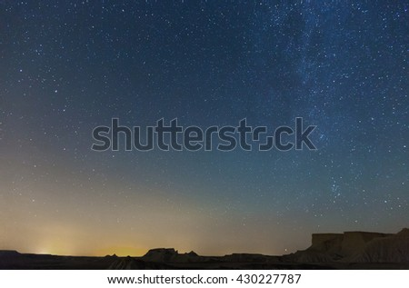 nighty sky with many stars during summer  night over desert - stock photo