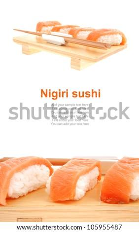 Nigiri Sushi - Set of Nigiri sushi topped with raw Salmon . isolated over white background . on wooden board - stock photo