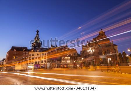 Nijmegen squre cityscape at dusk twilight - stock photo