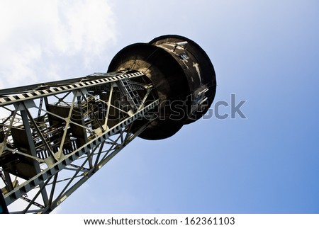 Nikiszowiec, historical district of Katowice, Silesia. Small settlement built for coalminers between 1908 and 1918. Water tower in Nikiszowiec - stock photo
