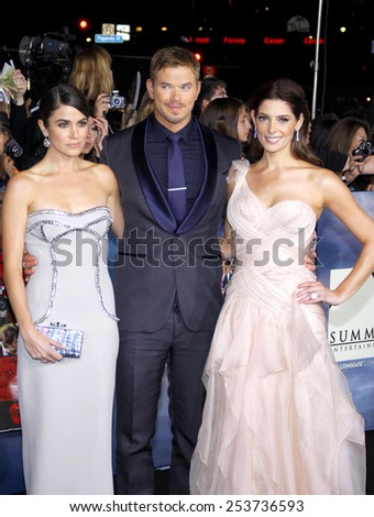 "Nikki Reed, Kellan Lutz and Ashley Greene at the Los Angeles Premiere of ""The Twilight Saga: Breaking Dawn - Part 2"" held at the Nokia L.A. Live Theatre in Los Angeles on November 12, 2012. - stock photo"