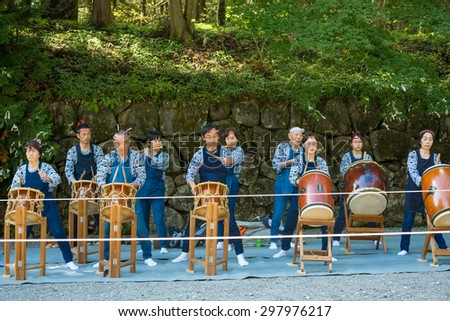 NIKKO, JAPAN - 16 october 2014 : People visit Tosho-gu Shrine   Reitaisai on16 octuber 2015 in Nikko, Japan. Toshogu is part of a UNESCO World Heritage Site, group of  important temples in Japan. - stock photo