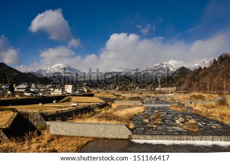 Nikko mountain viewpoint , Japan - stock photo