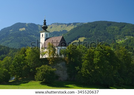 Nikolaus Kirche (Saint Nicholas church) near Golling an der Salzach, Salzburg, Austria  - stock photo