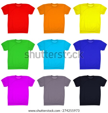 Nine blank t-shirt isolated on white. Nine clipping path inside. Ready for your logo or artwork.  - stock photo