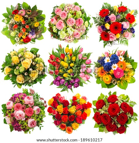 nine colorful flowers bouquet for Birthday, Wedding, Mother's Day, Easter, Anniversary, Holidays - stock photo