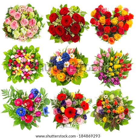 nine colorful flowers bouquet for Birthday, Wedding, Mothers Day, Easter, Anniversary, Holidays - stock photo