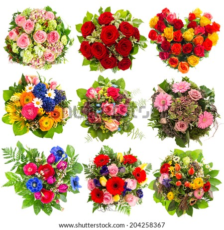 nine colorful flowers bouquet for Birthday, Wedding, Mothers Day, Easter, Anniversary, Holidays. Roses red, pink, yellow - stock photo
