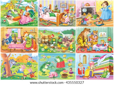Nine fairy tales. Fox, cat and the cock. Little Red Riding Hood. Cinderella. Fox and the stork. Ugly duckling. The three bears. Three little pigs. Thumbelina. Princess and the pea. Cartoon character. - stock photo