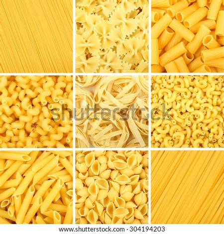 Nine full backgrounds of various dry uncooked pasta - stock photo