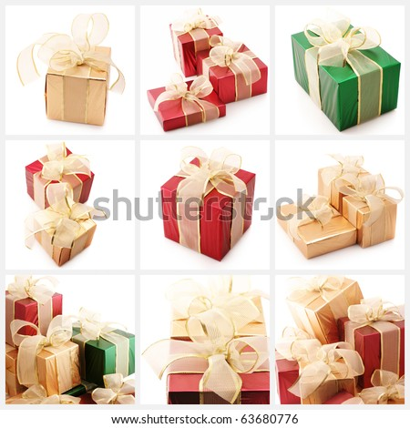 Nine images of colorful gifts on white background. - stock photo