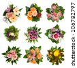 Nine isolated beautiful and colorful bouquets - stock photo