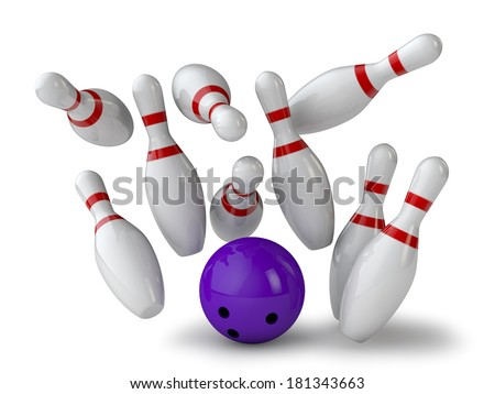 nine Kegel and ball on white background - stock photo