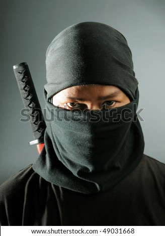 Ninja assassin portrait - stock photo