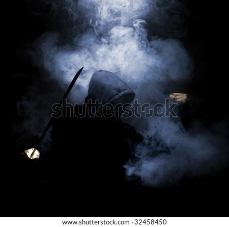 ninja fighter at nihgt in smoke - stock photo