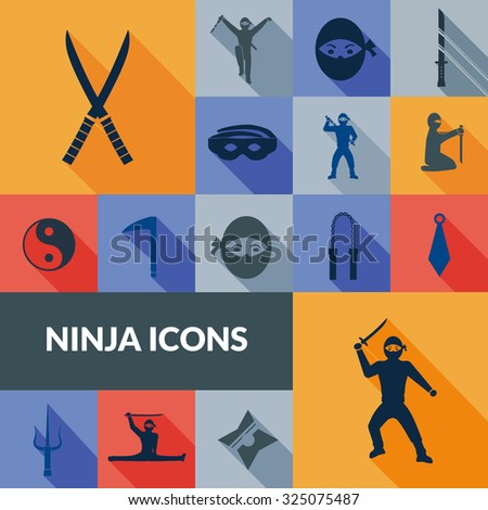 Ninja icons black long shadow set with traditional east weapon isolated  illustration - stock photo