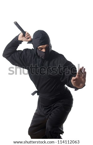 Ninja pull out the sword on white - stock photo