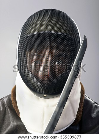 Ninja warrior with sharp samurai blade. - stock photo