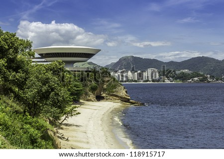 NITEROI - FEBRUARY 15 : Museum of Contemporary Art on February 15, 2012 in Niteroi. Museum was design by famous brazilian architect Oscar Niemeyer and is located in city of Niteroi in Brazil - stock photo