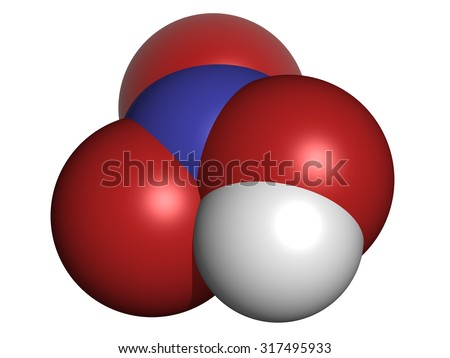 Nitric acid (HNO3) strong mineral acid molecule. Used in production of fertilizer and explosives. Atoms are represented as spheres with conventional color coding: hydrogen (white), etc - stock photo