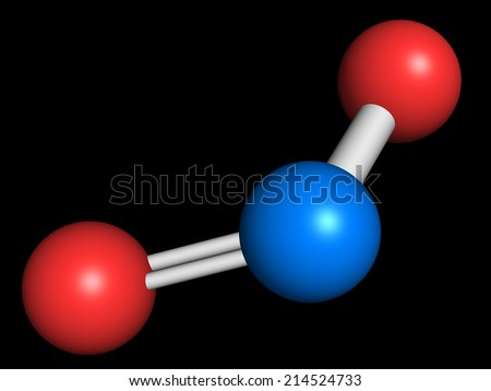 Nitrogen dioxide (NO2) air pollution molecule. Free radical compound, also known as NOx. Atoms are represented as spheres with conventional color coding: nitrogen (blue), oxygen (red). - stock photo