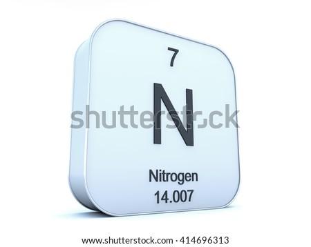Nitrogen element on white square icon - stock photo
