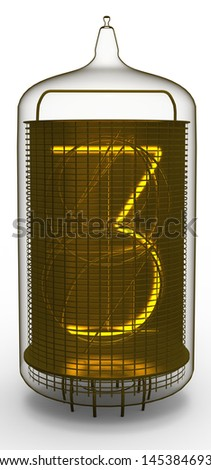 nixie tube indicator 3 - stock photo