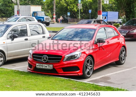NIZHNY NOVGOROD, RUSSIA - JULY 28, 2014: Motor car Mercedes-Benz W176 A-class in the city street. - stock photo