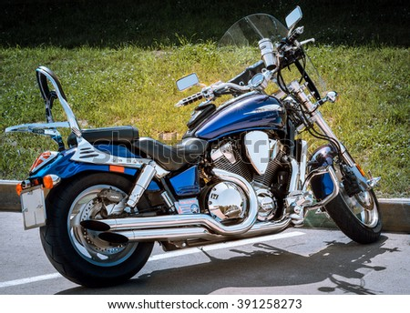 NIZHNY NOVGOROD, RUSSIA - JULY 14, 2013:  Open competition in races on sports bikes. Motorcycle close up - stock photo