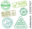 No added preservatives  Rubber stamp illustrations - stock photo