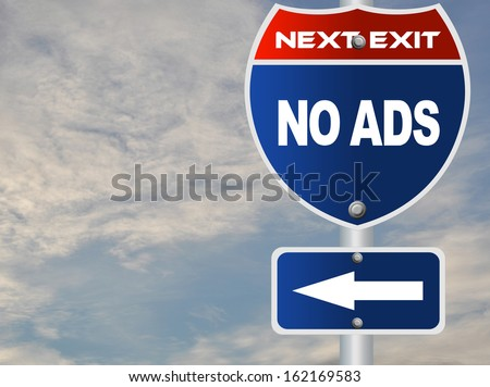 No ads road sign - stock photo