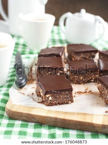 No-bake chocolate squares - stock photo