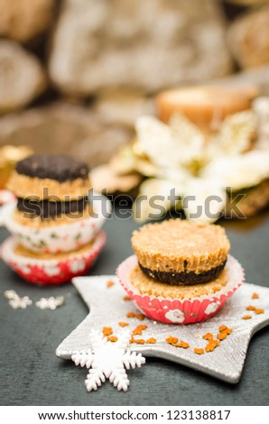 No-bake cupcake with Oreo and whole biscuit - stock photo