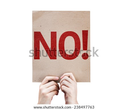 No! card isolated on white background - stock photo