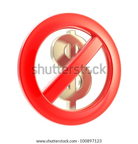 No cash sign as crossed dollar symbol isolated on white - stock photo