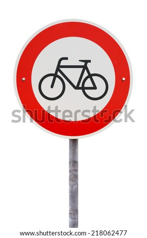 No cycling and no entry for bicycles traffic sign against white background - stock photo